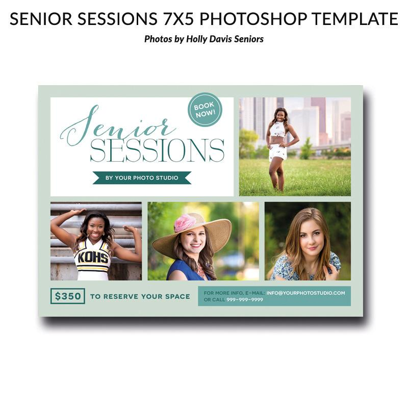Senior Sessions 7x5 Photoshop Template 01