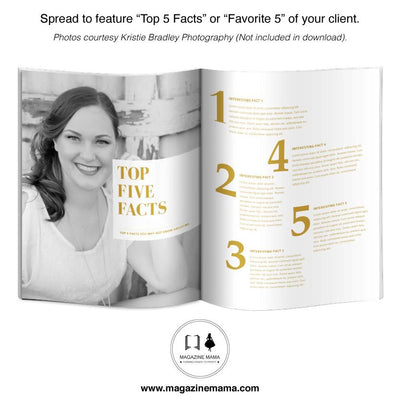 Inside spread of senior photography magazine template