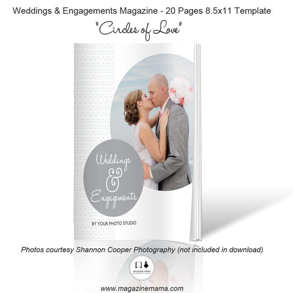 "8.5x11 Magazine Template - ""Circles Of Love"" - Wedding And Engagements Magazine Template"