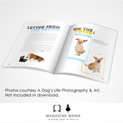 8.5x11 Magazine Template - Dog Photography Magazine Template