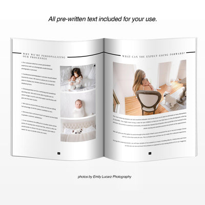Layout of Photography In Person Sales Guide Template