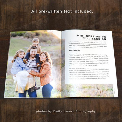 8.5x11 Magazine Template - Mini Sessions Welcome Guide Photographer Template