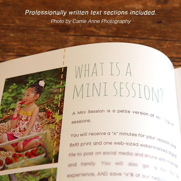 8.5x11 Magazine Template - Mini Sessions Welcome Guide Template