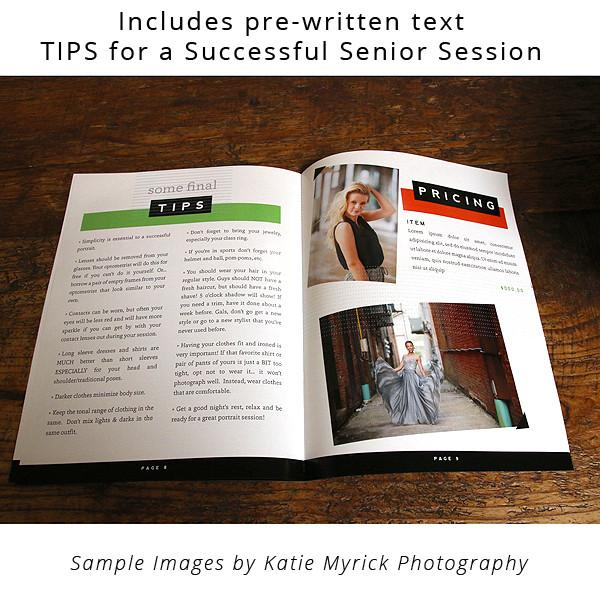 8.5x11 Magazine Template - Senior Photography Welcome Guide Template