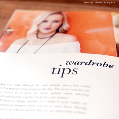 Wardrobe Tips article included in this senior photography template