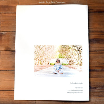 Back cover of this senior magazine template for photographers