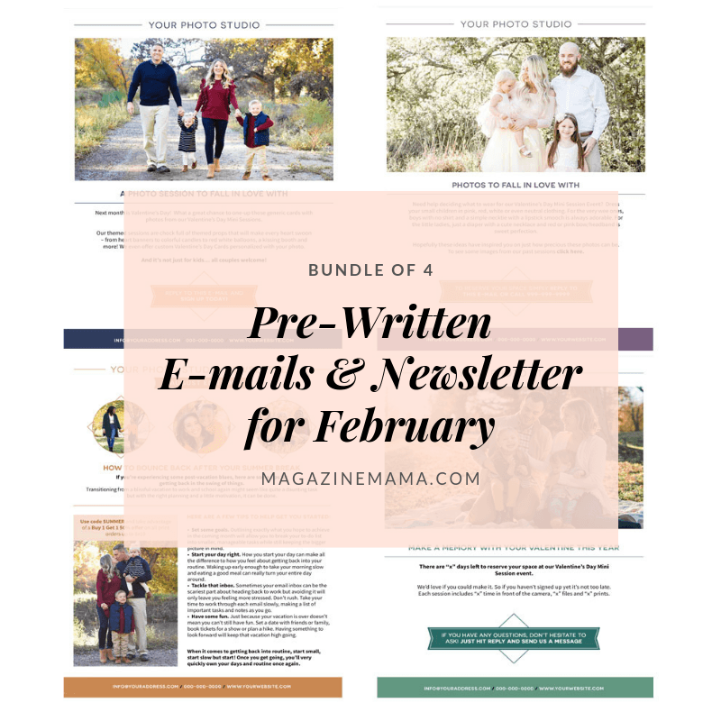 Photography E-mail Newsletter Templates - February