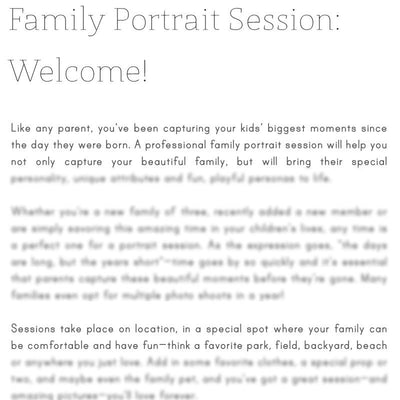 Articles - Articles Vol. 1 - Family & Kids Portrait Sessions