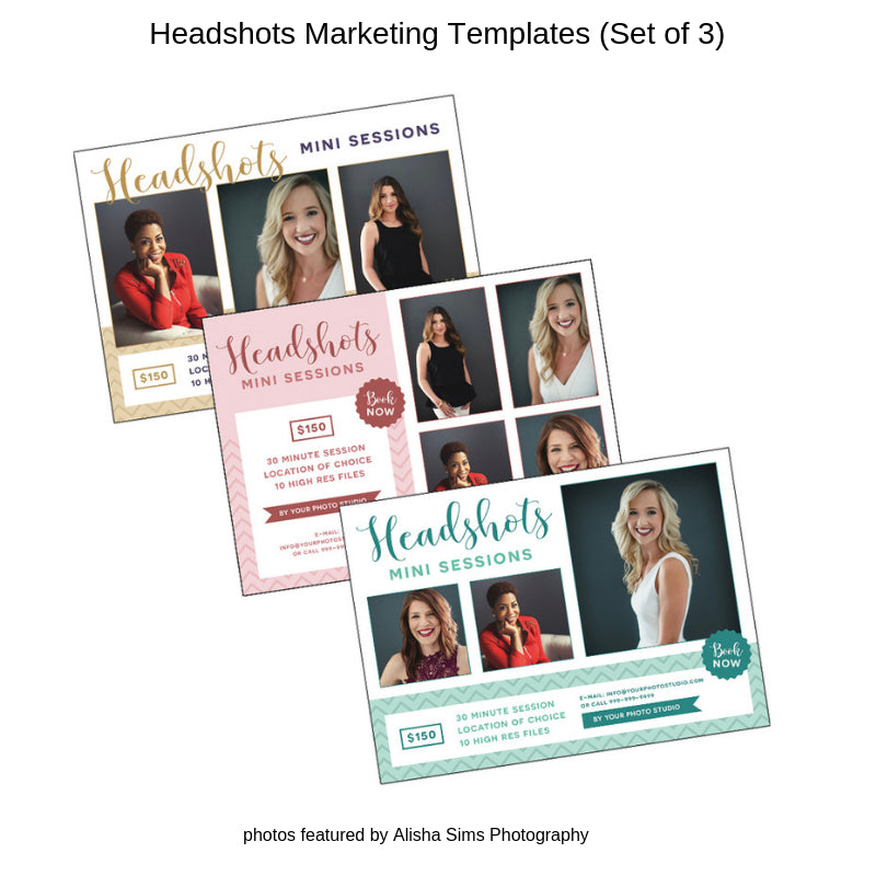 Headshots Photography Marketing Templates (Set of 3)