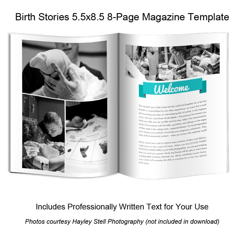 Mini-Magazine - Birth Photography Welcome Guide Template