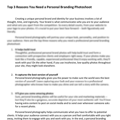 Personal  Branding Photography Pre-Written Blog Post Bundle