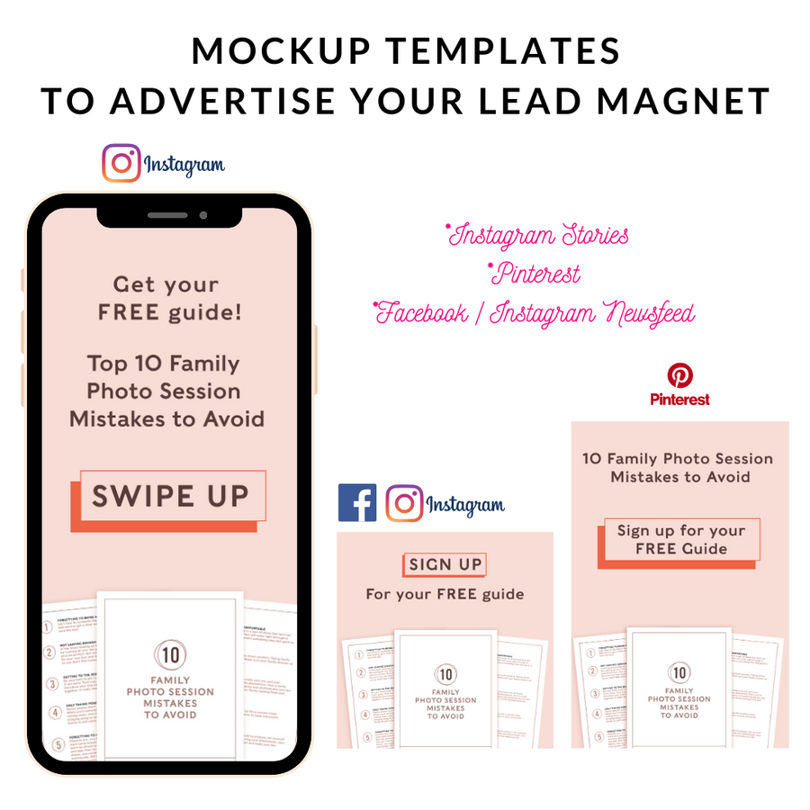 Photographer Lead Magnet Mockup Templates (Family 01)