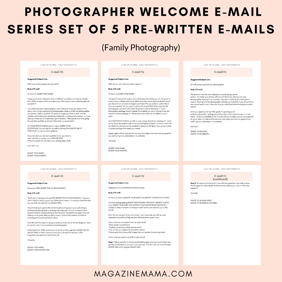Photographer Welcome E-mail Series (Family Photography 01)