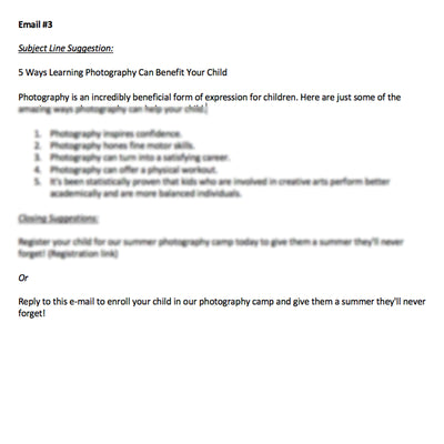 Kids Photography Camp Pre-Written E-mails