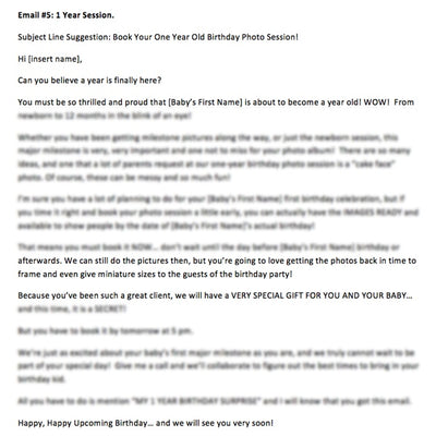 Photographer email temples sample text for newborn photographer