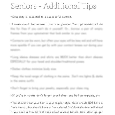 Pre-Written Photography Articles - Vol. 3 - Seniors