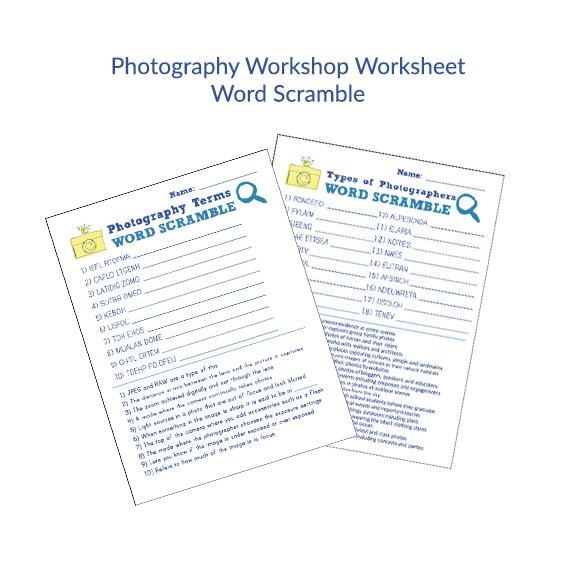 Teaching Photography Worksheets