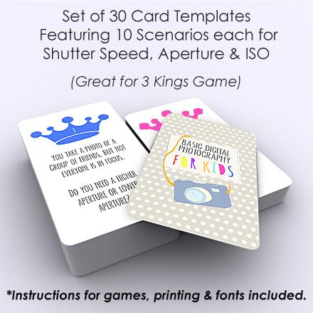 Templates For Teaching - Basic Digital Photography For Kids (Three Kings Card Game Templates)