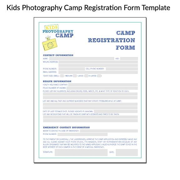 Kids Photography Camp Registration Form Template
