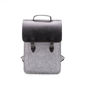 Vegan Leather Backpack - Light Grey