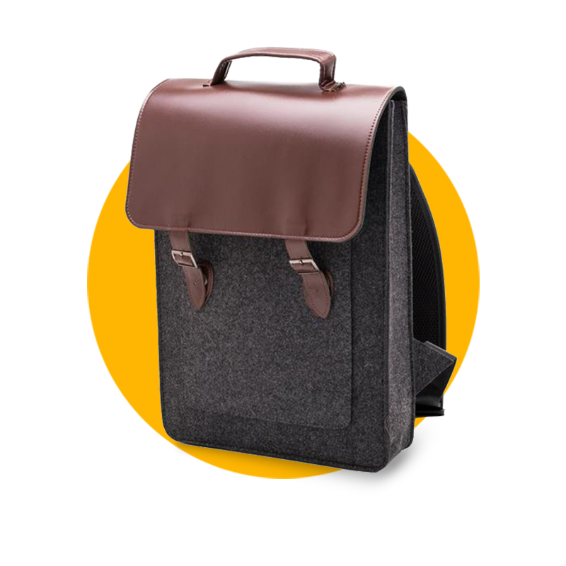 Vegan Leather Backpack - Dark Grey