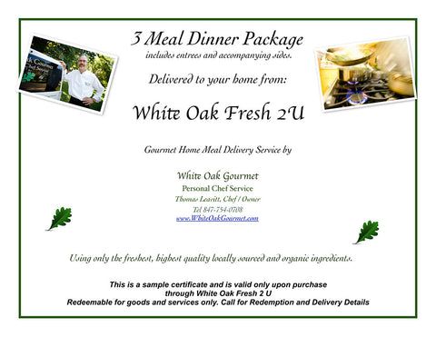 Home Delivery Meal Plans gift certificates: white oak fresh 2 u: home delivery of gourmet meals