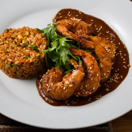 Shrimp with Mole Rojo