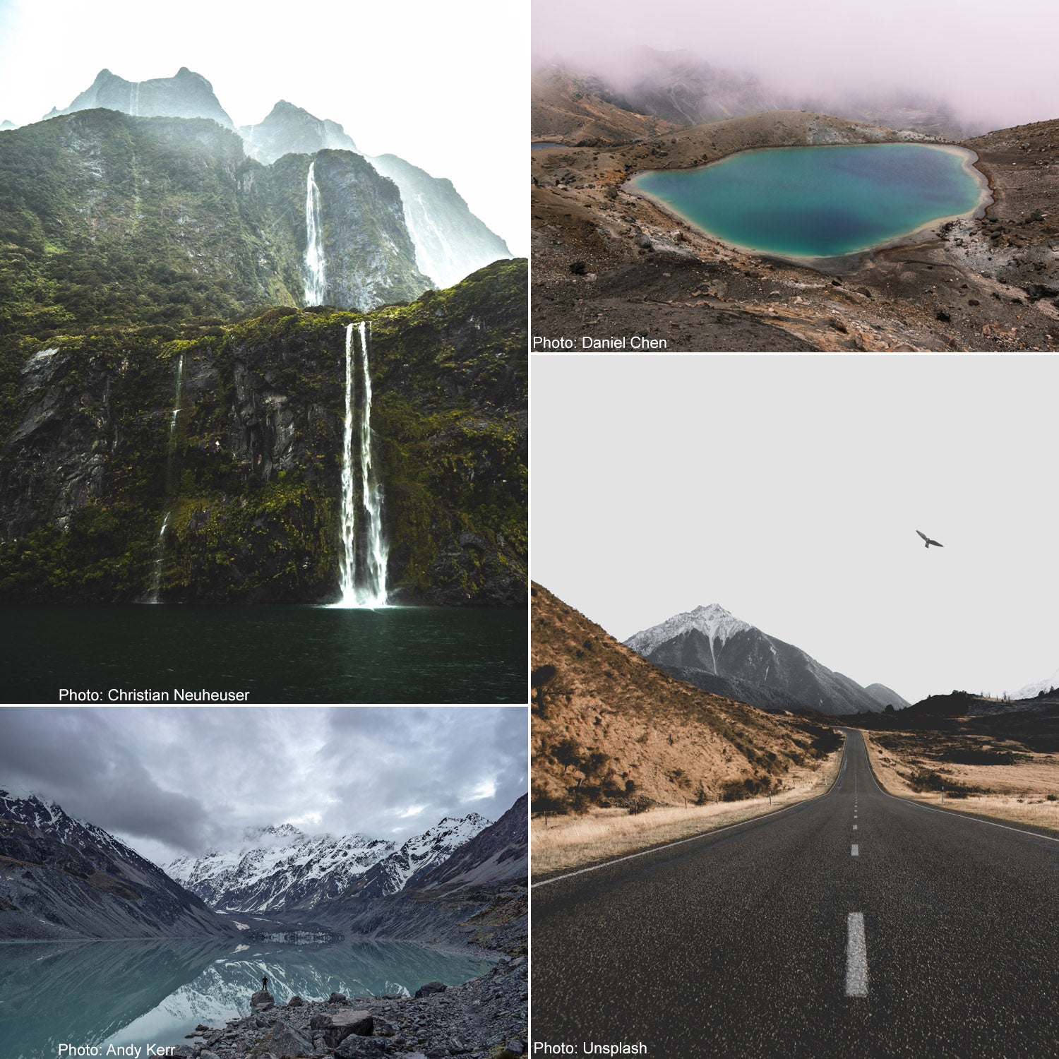 Scenic photos of New Zealand