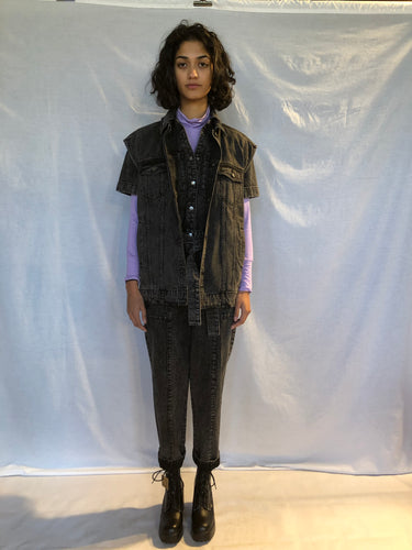 BLACK OTOKO OVERSIZED DENIM VIDEO WASH VEST