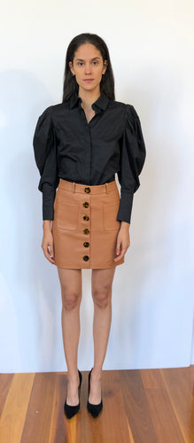 Button Me Up Leather Mini - Tan