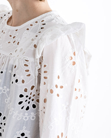 by-bar amsterdam // Bluse Mila Embroidery Off White