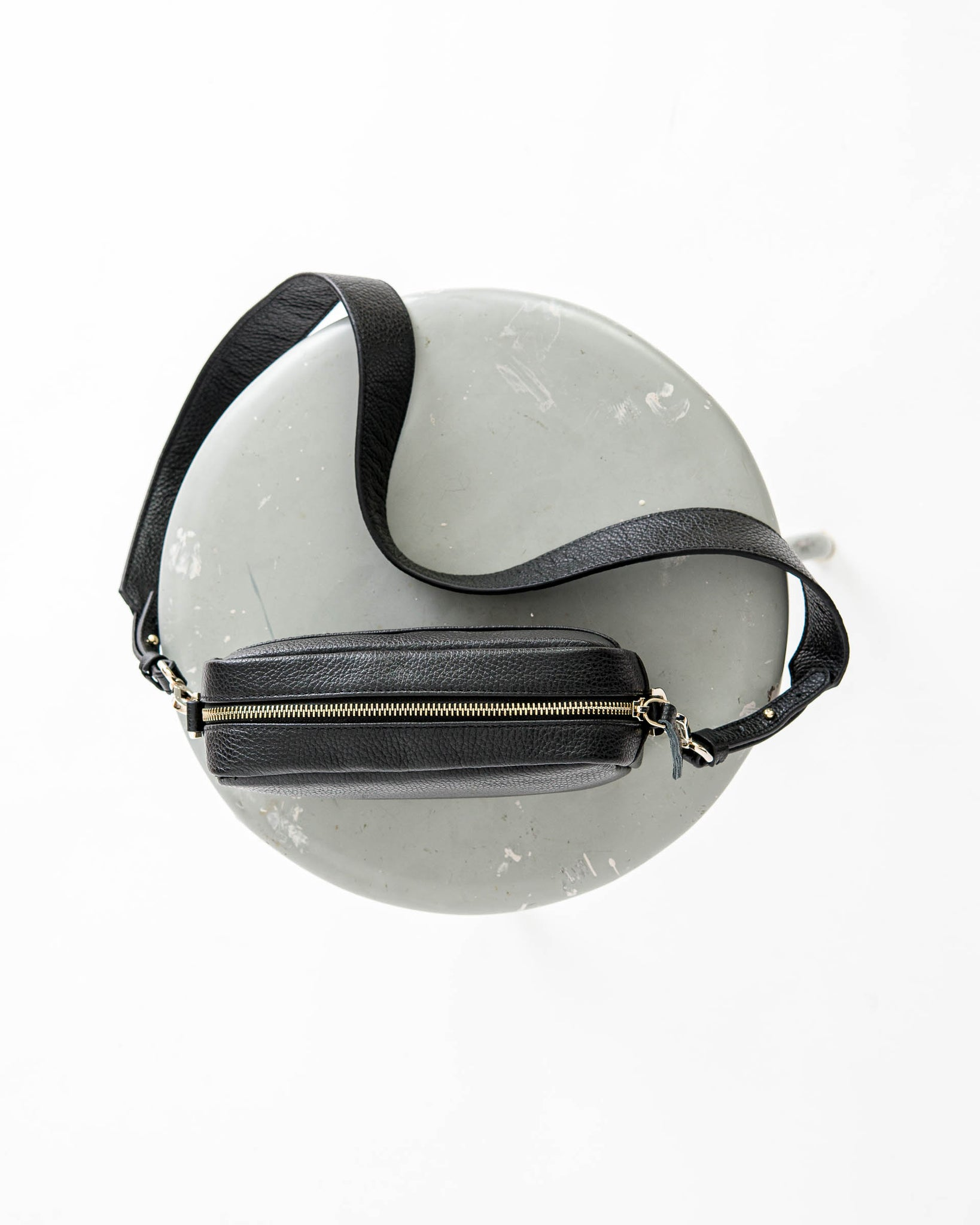 Ann Kurz // Carla Grained Black Shoulder Bag