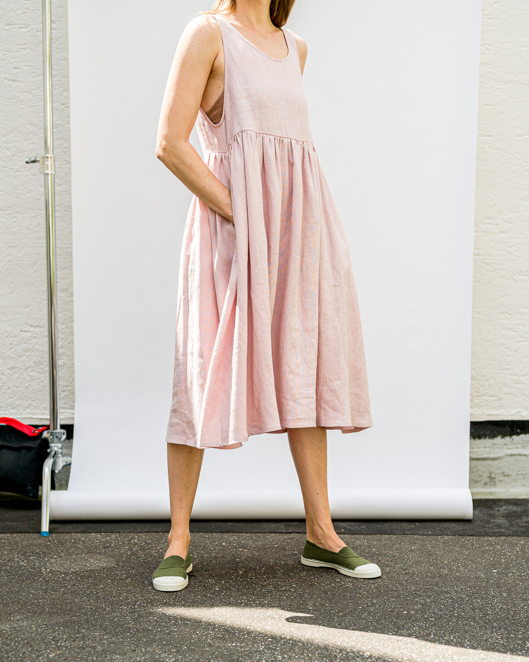 OFFON CLOTHING // Kleid Mits Smock Linen Dress Dusty Rose