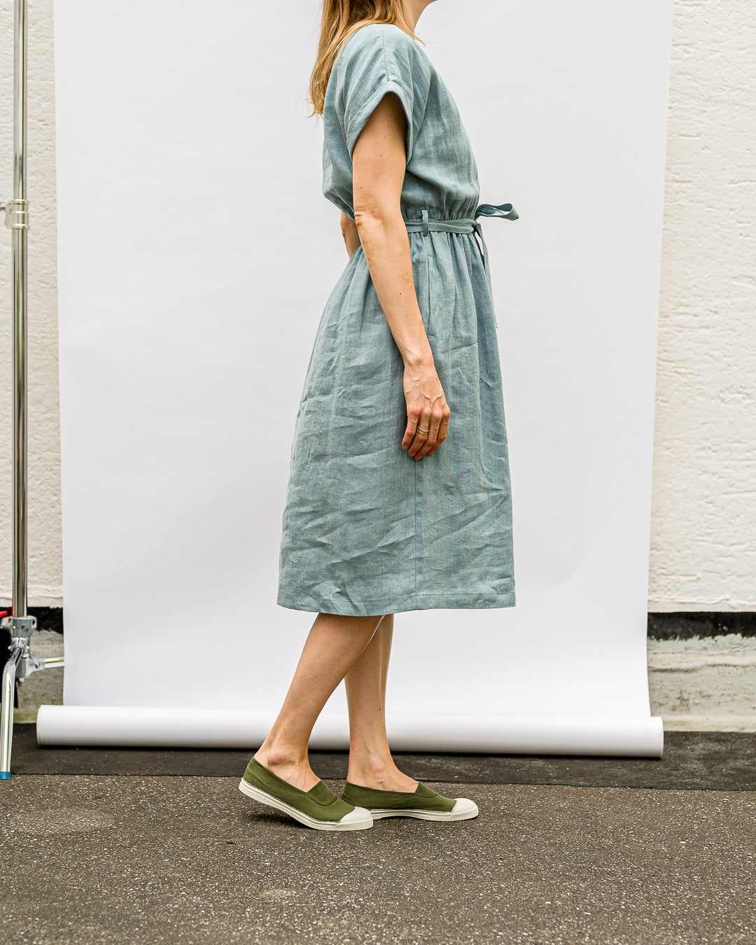 OFFON CLOTHING // Kleid Belt Linen Cloudy Sky