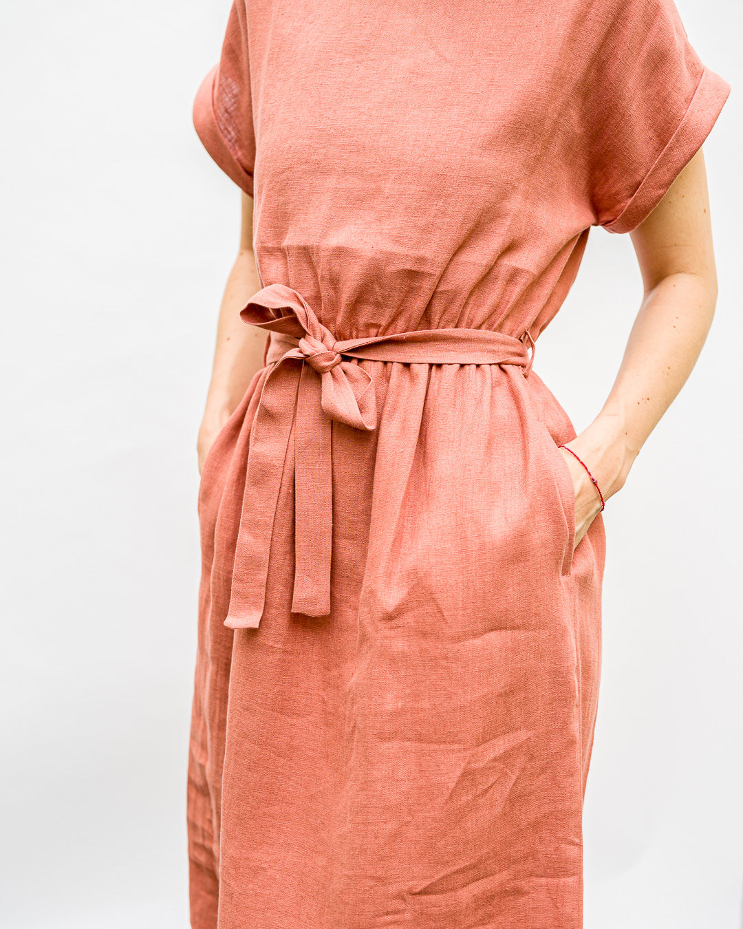 OFFON CLOTHING // Kleid Belt Linen Rusty Pink