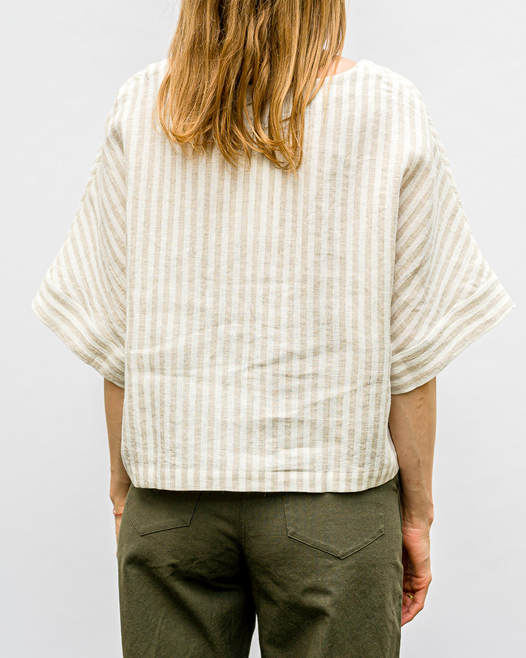 OFFON CLOTHING // Top Stripes Linen White Beige
