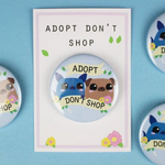 "The Vegan Pug - Badge ""Adopt, Don't Shop"""