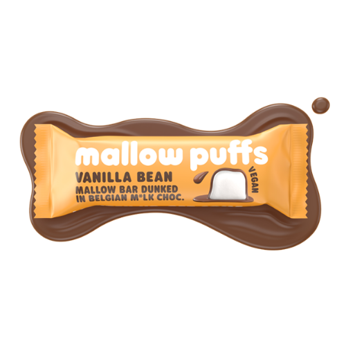 Mallow Puffs - Vegan Vanilla Marshmallow Bar with Chocolate Coating