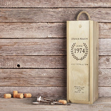 Load image into Gallery viewer, Award Winning Champagne in Personalised 'Birthday' Wooden Champagne Box.