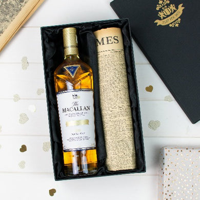 Macallan Double Cask Gold Whisky and Original Newspaper - Cambridge Champagne Company Limited.
