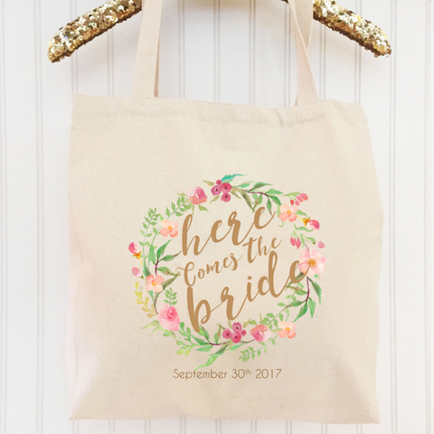 Here Comes the Bride - Personalized Bride Bag - Engagement Gift by Shine Bridal and Co