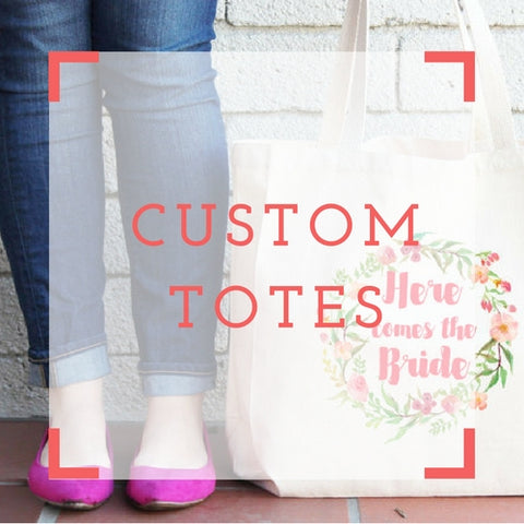 Custom Bridal Tote Bags - Personalized Bridesmaid Totes - Bride Bag Bridesmaid Gift Bag by Shine Bridal and Co