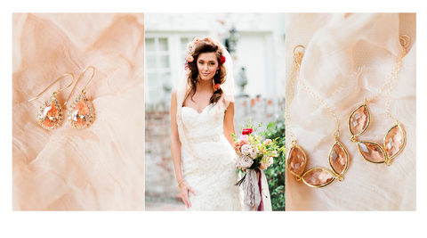 Pretty in Peach // Shine Bridal jewelry seen in Celebration Society Magazine.