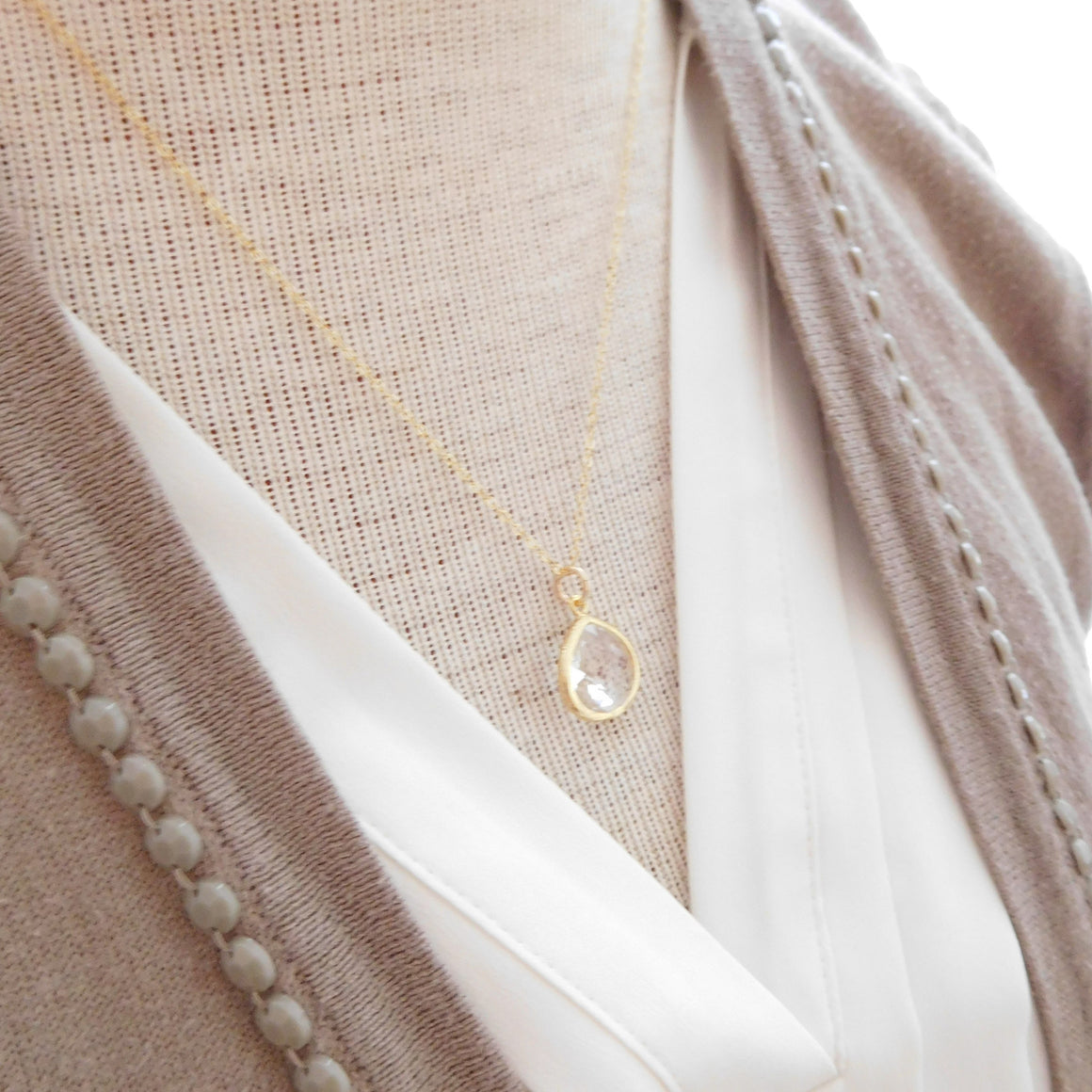 Bliss Necklace | With Gold Leaf Charm | 22 Colors