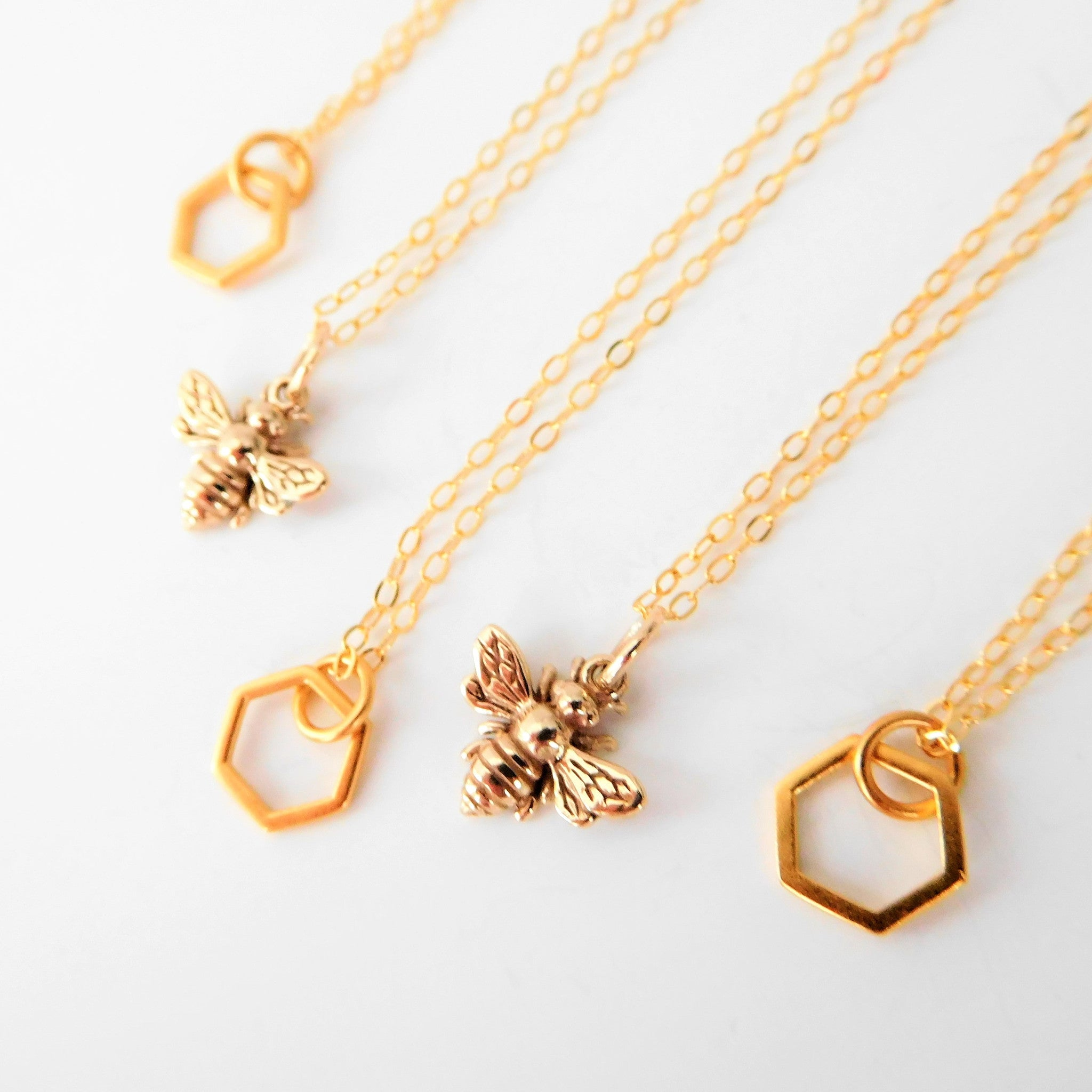 everyday or bumble and silver rose zoom teeny honey bee gold fullxfull tiny il necklace listing simple dainty