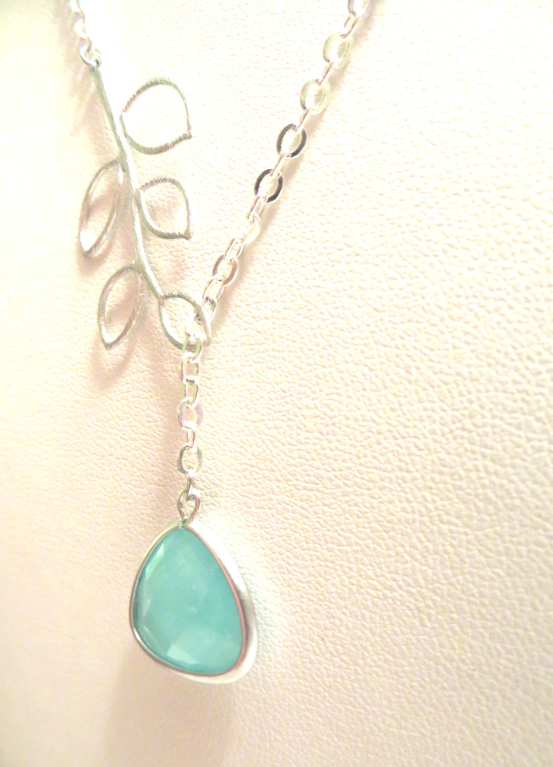 Twiggy Silver Lariat Mint Silver Mint Necklace