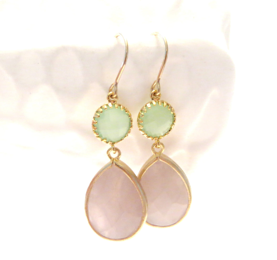 Adelaide Blush Pink Mint Gold Pink Mint Earrings