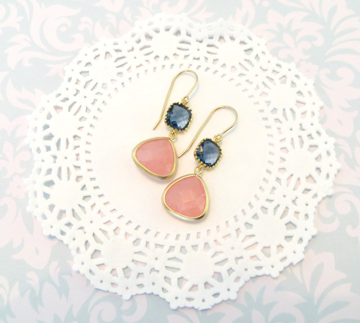 Livi Coral Navy Gold Coral Blue Earrings