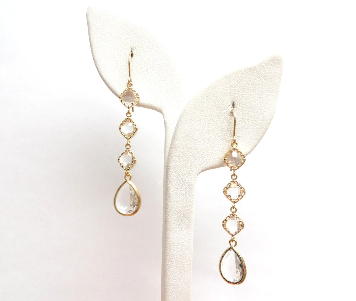 Everleigh Deluxe Clear Gold Clear Earrings