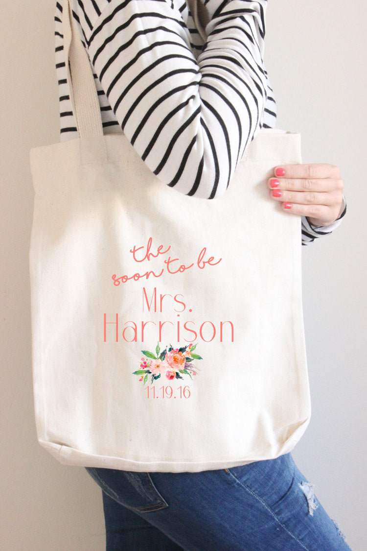 Different bridal shower gifts - Personalized Tote Bag Gift For Bride Unique Bridal Shower Gift Honeymoon Bag Custom Tote Bag Cute Wedding Tote Cotton Canvas Reusable Tote